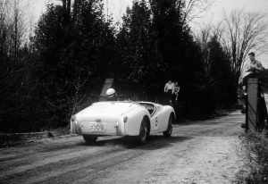 Fred Hayes, Triumph TR3, #8, Hockley Valley Hill Climb, Spring 1956